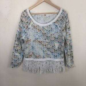 Free People Tribal Fringed Sweatshirt Size Small